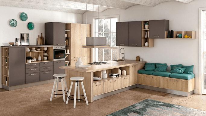 cucina Rewind creo in legno chiaro