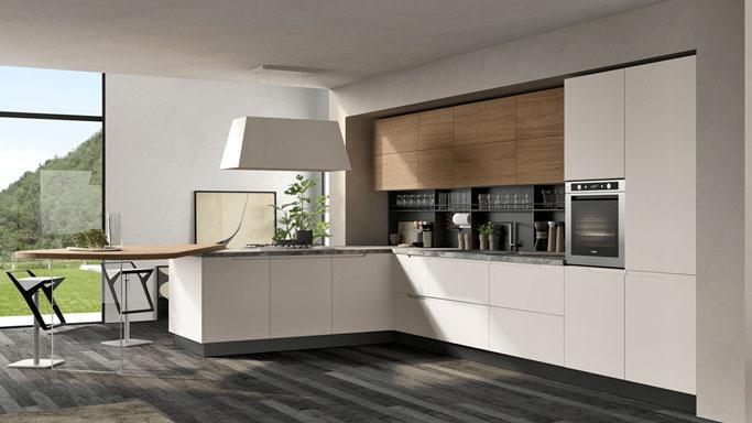 cucina luna bianca con particolari in legno